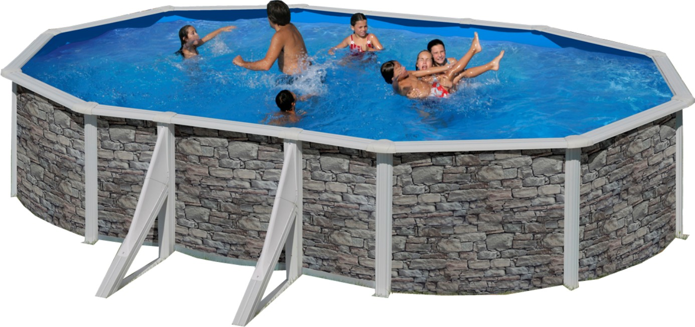Stahlwandbecken set achteck oval 120cm tief ovalbecken for Poolfolie steinoptik