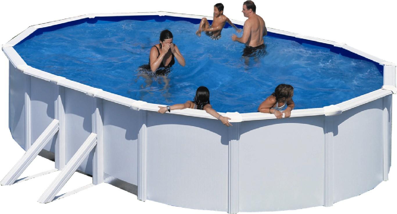 stahlwandbecken set achteck oval wei 120cm tief ovalbecken set pool schwimmbecken. Black Bedroom Furniture Sets. Home Design Ideas