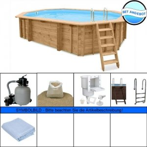 Holzpool - Set Evolution Basic Oval 840 x 490 x 138 cm