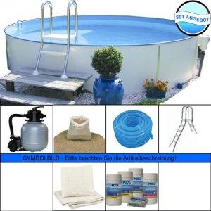stahlwandbecken set rund 150cm tief rundbecken set pool schwimmbecken schwimmbad. Black Bedroom Furniture Sets. Home Design Ideas